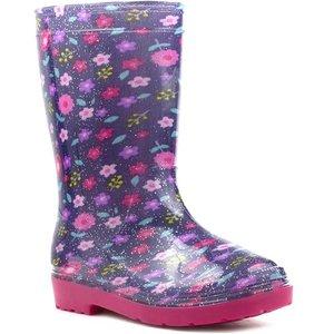 Zone Girls Purple And Pink Glitter Welly 79147 Childrens Footwear