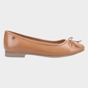 Hush Puppies Naomi Womens Tan Leather Ballerina 120173 Womens Footwear
