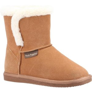 Hush Puppies Womens Ashleigh Suede Bootie In Tan 699302 Womens Footwear
