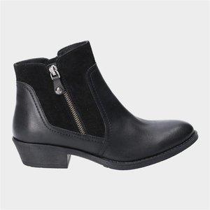 Hush Puppies Womens Isla Leather Boot In Black 184074 Womens Footwear
