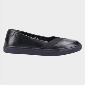 Hush Puppies Womens Tiffany Black Leather Shoe 120185 Womens Footwear