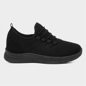 Xl Kids Black Bungee Lace Trainer 80087 Childrens Footwear