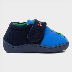 Zone Kids Navy Easy Fasten Dinosaur Slipper 696001 Childrens Footwear