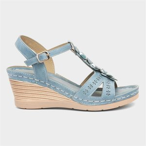 Lilley And Skinner Womens Wedge Sandal In Blue 19088 Womens Footwear