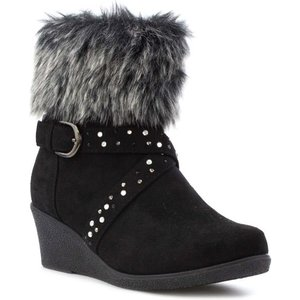 Lilley Girls Black Faux Fur Top Wedge Ankle Boot 28442 Childrens Footwear