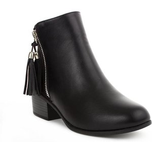 Lilley Girls Black Silver Zip And Tassel Ankle Boot 28475 Childrens Footwear