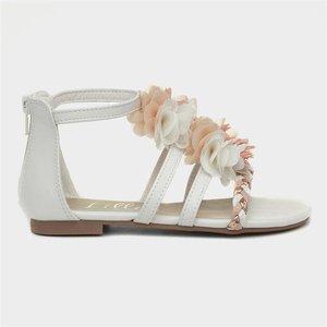 Lilley Girls White Floral Flat Sandal 29867 Childrens Footwear
