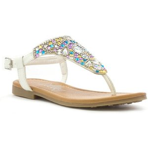 Lilley Girls White Gem Toe Post Flat Sandal 29895 Childrens Footwear