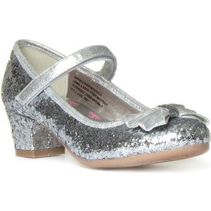 Lilley Sparkle Girls Silver Glitter Heeled Shoe 20827 Childrens Footwear