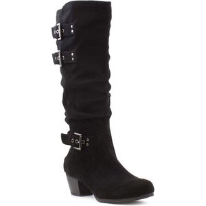Lilley Womens Black Faux Suede Knee High Boot 18882 Womens Footwear