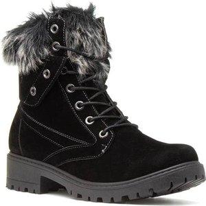 Lilley Womens Black Fur Collar Boots 18050 Womens Footwear