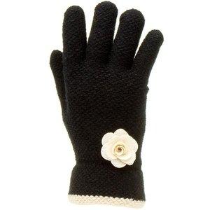 Lilley Womens Black Glove With Cream Flower 99658 Womens Accessories