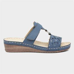 Lilley Womens Blue Wedge Easy Fasten Sandal 195003 Womens Footwear