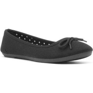 Lilley Womens Casual Jersey Ballerina In Black 10736 Womens Footwear