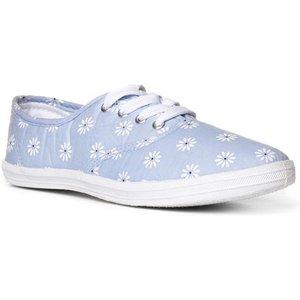 Lilley Womens Denim Daisy Print Lace Up Canvas 16030 Womens Footwear