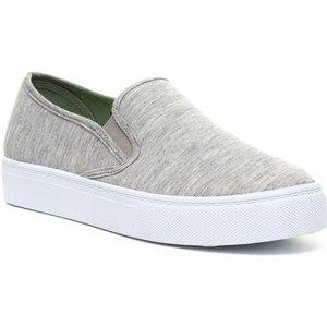 Lilley Womens Grey Slip On Canvas 16534 Womens Footwear