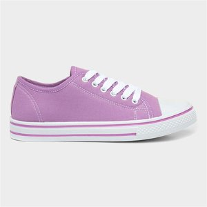 Lilley Womens Lilac Lace Up Canvas 165006 Womens Footwear