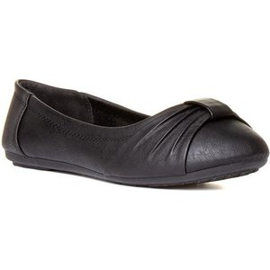 Lilley Womens Pleated Bow Ballerina In Black 13030 Womens Footwear