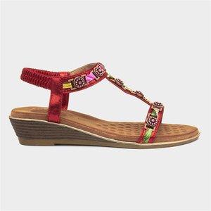 Lunar Bali Womens Red Sandal 199075 Womens Footwear