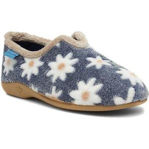 Lunar Daisy Womens Blue Floral Full Slipper 699001 Womens Footwear