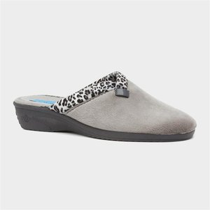 Lunar Michelle Womens Grey Leopard Mule Slipper 699142 Womens Footwear