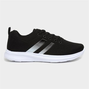 Xl Mens Black Mesh Lace Up Trainers With Stripes 830025 Mens Footwear