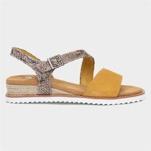 Skechers Desert Kiss Womens Yellow And Snake Sandal 190063 Womens Footwear
