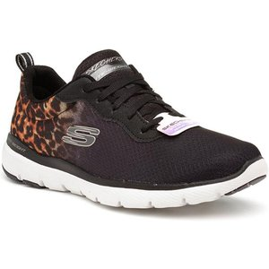 Skechers Flex Appeal Leopard Path Womens Trainer 84108 Womens Footwear