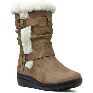 Softlites Womens Tan Faux Fur Calf Boot 18403 Womens Footwear