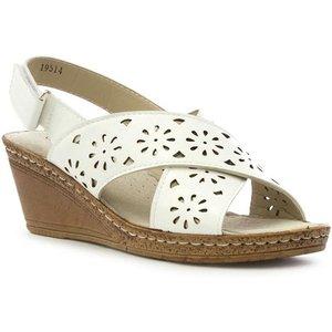 Softlites Womens White Cross Strap Comfort Sandal 19514 Womens Footwear