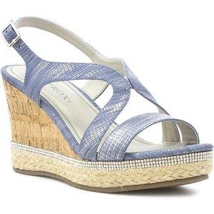 Sprox Womens Denim Cross Strap Wedge Sandal 19051 Womens Footwear