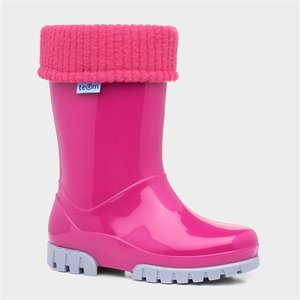 Term Kids Pink And Grey Removable Sock Welly 799144 Childrens Footwear