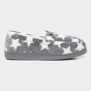 The Slipper Company Grey Moccasin Slipper 69282 Womens Footwear