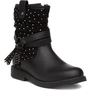 Walkright Girls Black Diamante Calf Boot 281002 Childrens Footwear