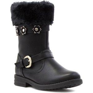 Walkright Girls Black Faux Fur Calf Boot 28127 Childrens Footwear