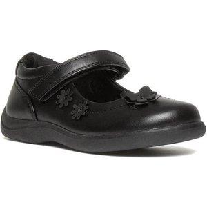 Walkright Girls Easy Fasten Flat Shoe In Black 20290 Childrens Footwear