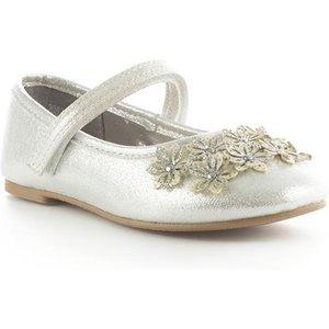 Walkright Girls Silver Easy Fasten Ballerina Shoe 20828 Childrens Footwear
