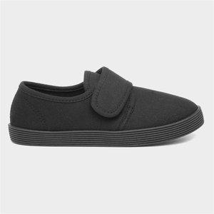 Walkright Kids Black Touch Fasten Plimsoll 81276 Childrens Footwear
