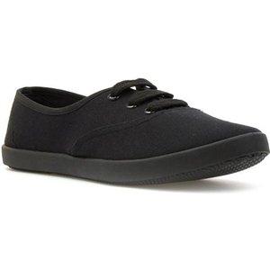 Zone Womens Black Lace Up Canvas Shoe 16013 Womens Footwear