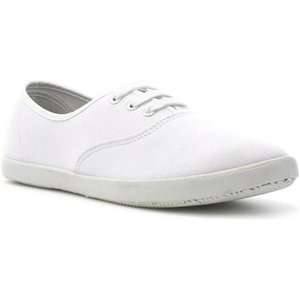 Zone Womens White Lace Up Canvas 16012 Womens Footwear