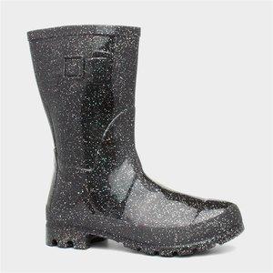 Zone Womens Black Glitter Welly 799086 Womens Footwear