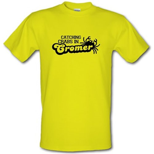 Chargrilled Catching Crabs In Cromer Male T-shirt. M0cromer Novelty T Shirts