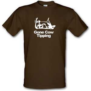 Chargrilled Gone Cow Tipping Male T-shirt. M0gonecowtipping Novelty T Shirts