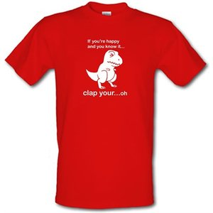 Chargrilled If You're Happy And You Know It Male T-shirt. M0ifyourehappyandyouknowit Novelty T Shirts