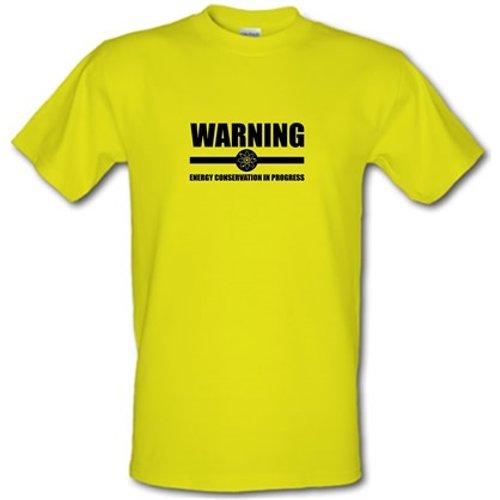 Chargrilled Warning Energy Conservation In Progress Male T-shirt. M0warningenergyconservationinprogress Novelty T Shirts