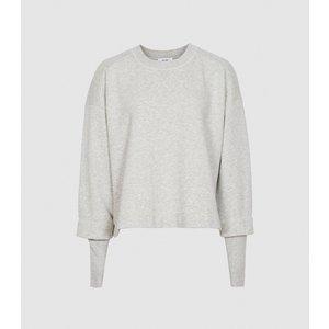 Reiss Abela - Cropped Loungewear Sweatshirt In Grey, Womens, Size S Reiss45705143001, Grey