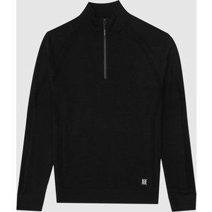 Reiss Affleck - Stretch Merino Zip Neck Jumper In Black, Mens, Size Xl Reiss51820820004, Black