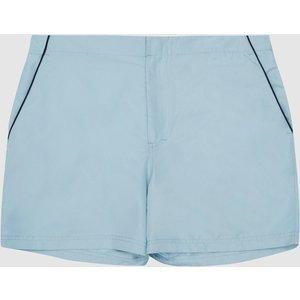 Reiss Alexander - Tipped Swim Shorts In Duck Egg, Mens, Size L Light Blue Reiss43801145003, Light Blue