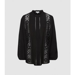 Reiss Aliyah - Lace Detail Blouse In Black, Womens, Size 12 Reiss46709220012, Black