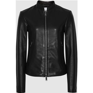 Reiss Allie - Leather Collarless Biker Jacket In Black, Womens, Size 14 Reiss17500320014, Black